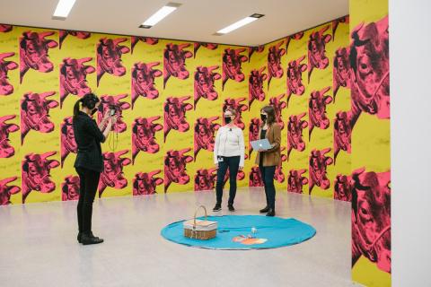 Picknickdecke in der Ausstellung Andy Warhol