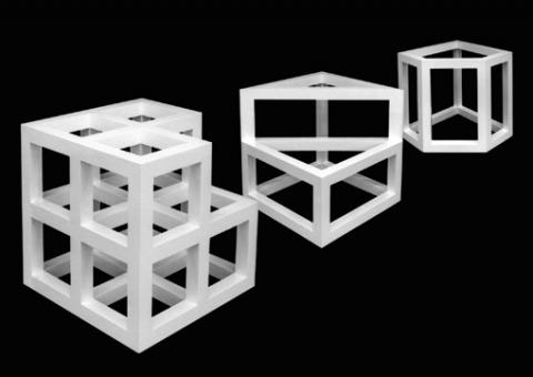 Ein Kunstwerk von Sol LeWitt, weiße, dreidimensionale, geometrische quadratähnliche Gerüste.