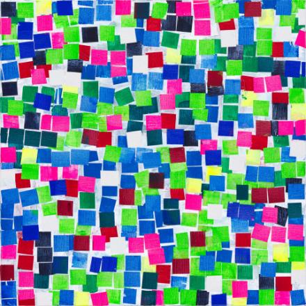 Bunte vierecken zu eiem großen bunten viereck angeordnet. Die Farben Blau und Grün stechen besonders hervor