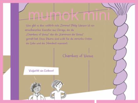 Eine Illustration für Kinder von zwei Kindern die durch die Ausstellung gehen