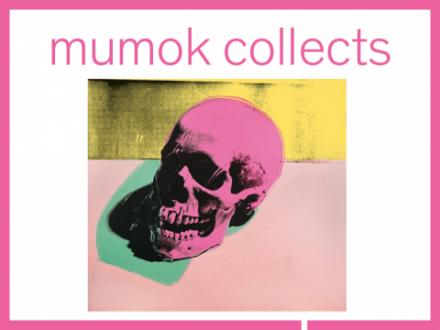 Pinker Schädel auf rosa-gelbem Hintergrund