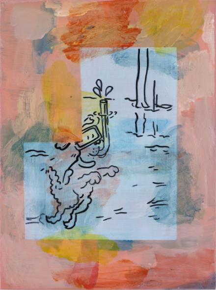 """Edition """"Water Problems"""" von Hugo Canoilas zu sehen ist eine Zeichnung eines tauchenden Hundes mit unterschiedlichen Farbflecken"""