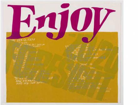 """Der Siebdruck von Corita Kent (Sister Corita), """"the sea queen"""" mit der Aufschrift """"Enjoy"""""""