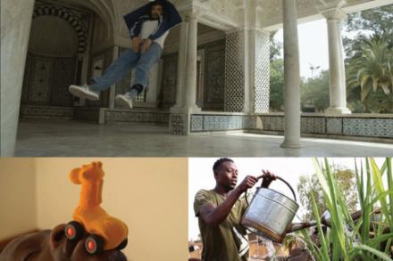 """Collage von drei Fotografieren, ein Mann der gießt, ein Mann in der Luft """"schwebend"""", ein Kinderspielzeug mit Rädern"""