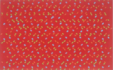 ein Rotes Bild von Larry Poons mit Elipsen in den verschiedenen Farben: Blau, Grün, Orange