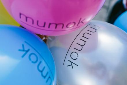 mumok Luftballone in Rosa, Silber und Blau