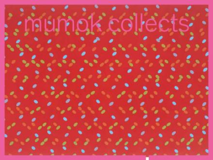 Rotes Bild mit blauen Punkten