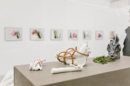 Keramitken von Ingeborg Strobl. Knochen und ein Tierschädl. Knochen zieren eine rosa Schleife der Schädl wird von einer Art maulkorb umschlossen.