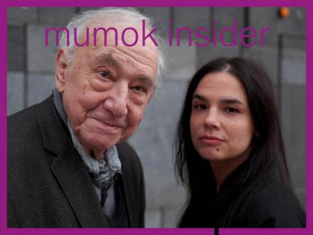 Daniel Spoerri und Anja Salomonowitz vor dem mumok