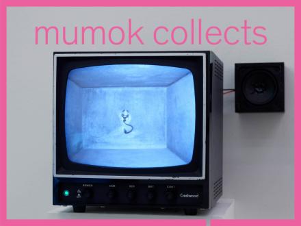 Ein Fernseher der das Innenleben einer vergabenen Betonbox zeigt sowie ein Lautsprecher der die Töne der Box wiedergibt. Zu sehen ist im Fernseher ein Mikrofon