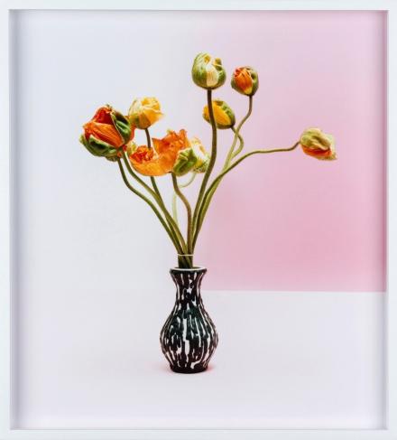 Zu sehen ist ein geramtes Bild: Gelb/ Oranger Mohn in einer Vase mit leicht Rosa- weißem Hintergrund