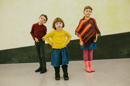 drei Kinder des mumok Kinderclubs
